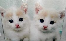 "Glass Cutting Board TWO WHITE KITTENS  15 1/2"" x 11 1/2"""