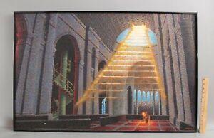 Large Vintage JULIAN LANDA Surreal Pointillism Oil Painting, Stairway to Heaven