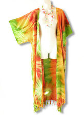 Tie Dye Plus Size Cardigan Duster Beach Kimono Maxi Dress Wrap -2X, 3X, 4X & 5X