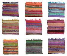 Hand Loomed Rag Rug Decorative Chindi Throw Mat Multi Color Living Room Decor