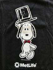 Vintage SNOOPY Met Life T shirt NOS 1980s 90s Hanes Black Cotton Sz 2XL USA