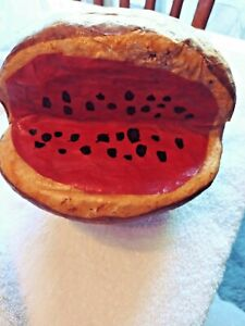 Vintage Handmade Paper Mache Whole Watermelon With Slice Cut Out