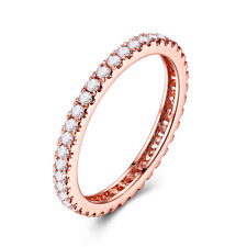 2/5CT Natural Diamond Halo Band Ring Solid 18K Rose Gold Simple Generous Wedding