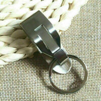 Stainless Steel Leather Detachable Keychain Belt Clip Key Ring Holder Gift V6N7