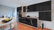 Küchenzeile Küchenblock grifflos Küche 445 cm Eiche Sonoma schwarz respekta