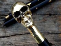 Collectible Solid Brass Men Skull Head Handle vintage Walking Cane Wooden Stick