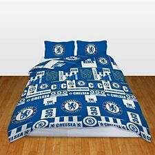 NEW CHELSEA FOOTBALL CLUB DOUBLE DUVET QUILT COVER SET BOYS KIDS BLUE BEDROOM