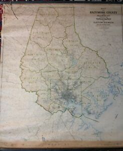 1924 Baltimore County & City Maryland Roll Down Map US Geological Survey