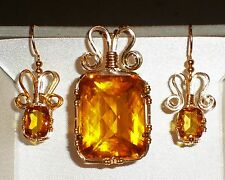 Big Golden Sapphire Emerald cut pendant and earrings, wrapped in 14K Gold wire
