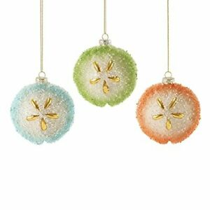 Department 56 Gone to the Beach Glitter Sand Dollar Glass Hanging Ornament