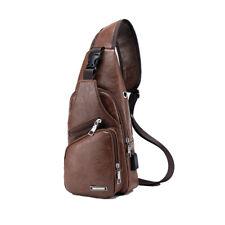 Men Leather Light Brown Shoulder Bag USB Charging Port Sports Crossbody Handbag