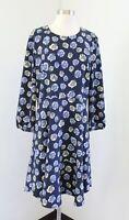 Ann Taylor Loft Blue Yellow Floral Printed Flounce Hem Shift Dress Size L