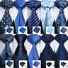 USA Blue Silk Tie Set Striped Checks Paisley 50 Styles Woven Necktie Lot Wedding