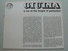 Prospekt Alfa Romeo Giulia - a car at the height of perfection, ca1970, 8 Seiten