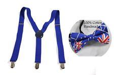 MEN WOMEN Blue 25mm Braces Suspenders Australia Flag Australian Bow Tie BOWTIE