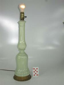 Art Deco Table Lamp Sea Fome Green or Lime Green Porcelain  1930's