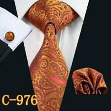 Classic Blue Black Solid Mens Tie Silk Necktie Set Paisley Wedding Jacquard