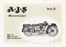 AJS - Serie H. - Motorräder  -  Prospekt - 1927 -  Deutsch - nl-Versandhandel