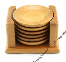 NEW Graceful 6Pcs Bamboo Chinese Gongfu Teacup Tea Cup Saucers Set and Holder