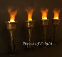 4 NEW Flaming Halloween TORCHES Prop BATTERIES INCLUDED