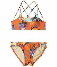 $157 Hobie Swimwear Girls Orange Blue Floral-Striped Bralette Bikini Swimsuit 14