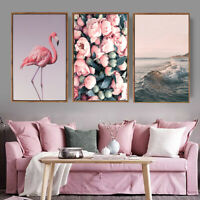 3pcs Painting Wall Art Nordic Style Flamingo Canvas Poster Living Room Decor
