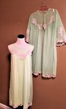 Vintage babydoll chiffon peignoir set nylon nightgown robe set Gilead Size Small