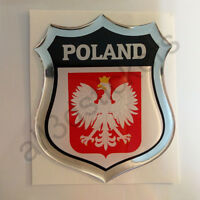 Sticker Poland Emblem Coat of Arms Shield 3D Resin Domed Gel Vinyl Decal Car