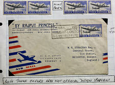 1948 Bombay India Airmail First Flight Cover To Brighton England Rajput Princess