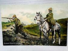 Scout Scots Greys Soldier Shooting in Uniform Postcard Mounted Horseback Pre WW1