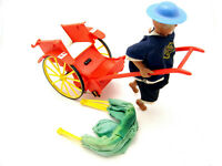 Vintage Battery Operated Man Pulling Rickshaw Unmarked Not Working