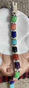 Sterling Silver Signed Zuni Link Bracelet with assorted stones