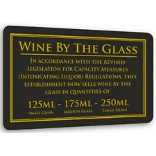 More details for wine by the glass 125/175/250ml law sign pub bar alcohol licensing notice black