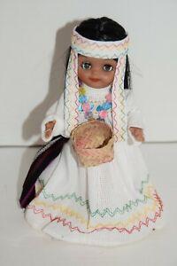 "Vintage Tipicas Dolly Chihuahua Tarahumara Doll White Dress & Basket 9"" Blinks"