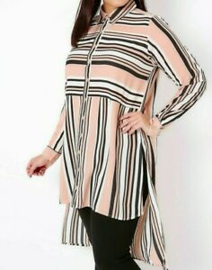 CURVE LADIES EXTREME DIPPED BACK BLOUSE PINK STRIPED NEW (ref 383) SALE