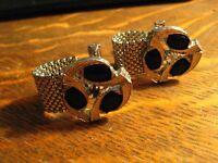Silver Black Rhinestone Cufflinks - Vintage Mesh Chainmail 1960's Cuff Links