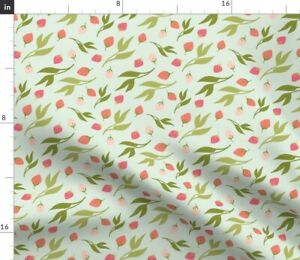 Minty Rose Bud Pink Bloom Sprout Leafy Girly Spoonflower Fabric by the Yard