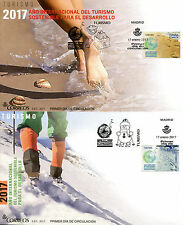 Spain 2017 FDC Int Year Sustainable Eco Tourism 2v on 2 Covers Snow Beach Stamps