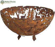 Fallen Fruits Laser Cut Woodland Cast Iron Round Fire Bowl Pit Patio Heater