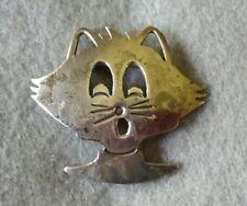 Face Brooch / Pin Vintage Sterling Silver Cat
