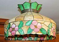 """Old 20"""" FLORAL Pattern LEADED SLAG GLASS Electric HANGING LAMP Caramel Slag"""