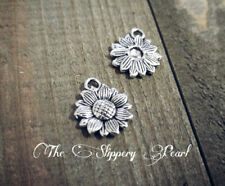 50 Sunflower Charms Antiqued Silver Flower Charms Garden Pendants BULK Charms