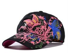 Fashion Baseball Cap For Women With Butterflies & Flowers Embroidery Adjustable