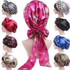 Women Grils Satin Silk Bow Headscarf Turban Hijab Sleeping Bonnet Hair Wrap Cap