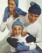 KNITTING PATTERN LADIES CHILDRENS MENS ARAN BOBBLE HATS MITTENS