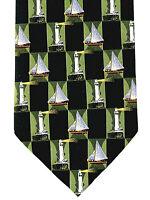 Lighthouses Sailboats Men's Necktie Sailing Boat Ship Nautical Black Neck Tie