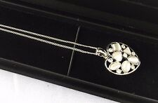 Cat's Eye Stone Silver-White Necklace Sterling Silver Chain with Display Case