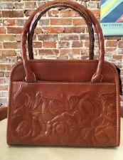 Patricia Brown Tooled Leather Paris Small Satchel Crossbody Purse Handbag New