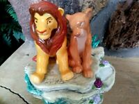 SIMBA AND NALA SCHMID MUSICAL CERAMIC FIGURE,DISNEY LION KING,NEW MINT,w/Sticker