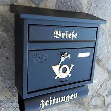 Moderner großer Briefkasten / Postkasten Schwarz Matt + Rolle Katalogeinwurf P